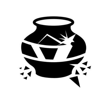 black broken pot vector icon isolated