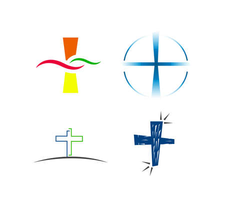 set of four colorful cross icons isolated