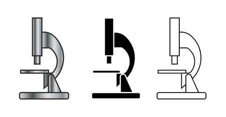 set of microscope icon isolated