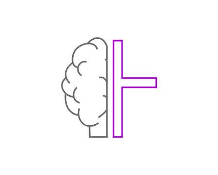 brain cross religion icon isolated