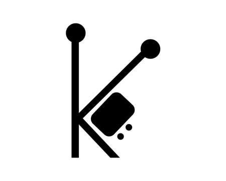 Black k letter tv icon isolated Ilustrace