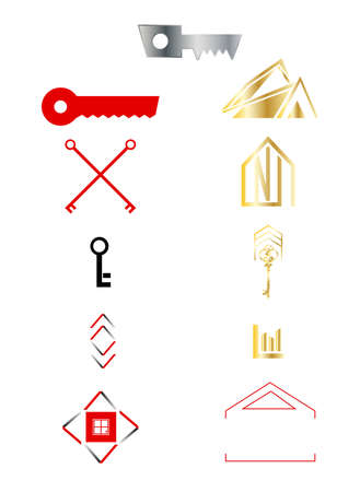set of real estate icons isolated