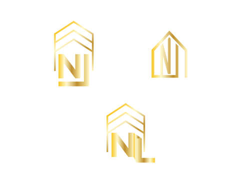 golden NL letter house icons isolated Banco de Imagens - 152751009