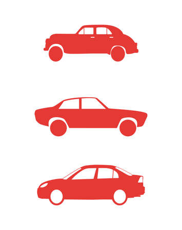 set of red car icons Ilustrace