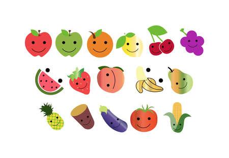 happy fruit icons isolated Vettoriali