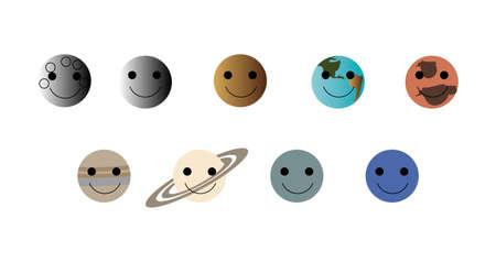 set of happy planet icons Ilustração