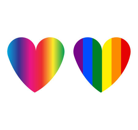 colorful lgbt flag heart icons isolated