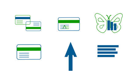set of six credit card icons isolated