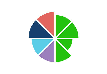 colorful pie chart icon isolated