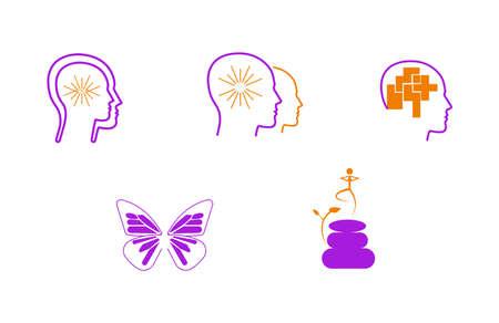 meditation spiritual coaching head icons set