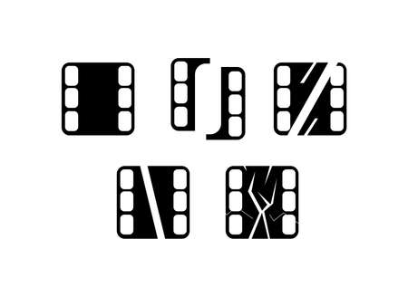 set of film strip icons isolated