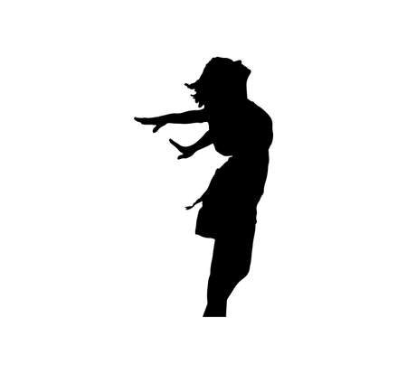 black silhouette of a woman isolated on white background Ilustração