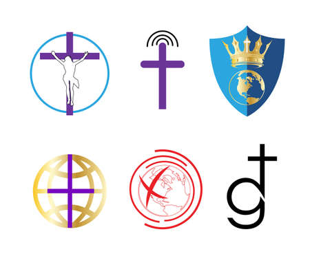 set of religious cross icons isolated