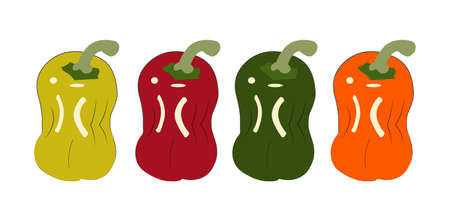 set of bell pepper illustrations isolated Ilustração