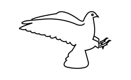 dove of peace line art icon isolated Ilustração