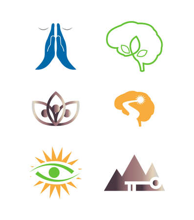 set of yoga enlightement icons isolated