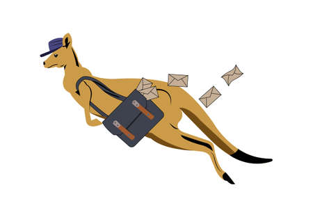 kangaroo postman jumping with letters flying out the bag vector illustration isolated