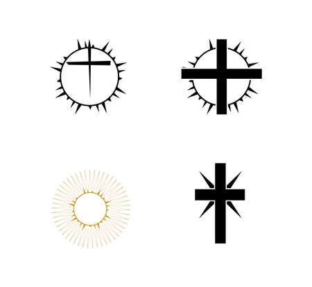 set of cross and thorn icons isolated