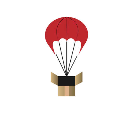 box on a parachute isolated