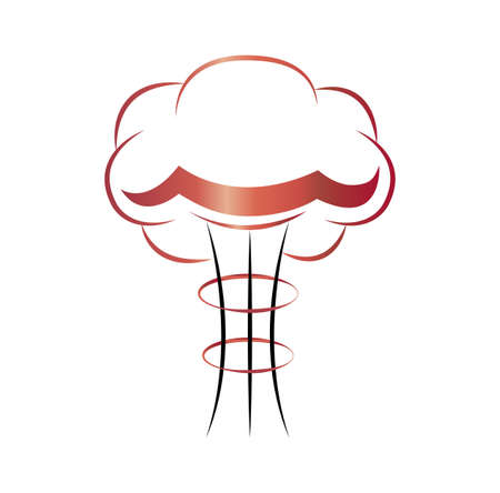 simple nuclear atomic mushroom cloud icon isolated on white background Ilustrace