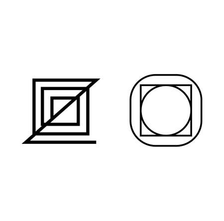 two geometric business symbol isolated on white background