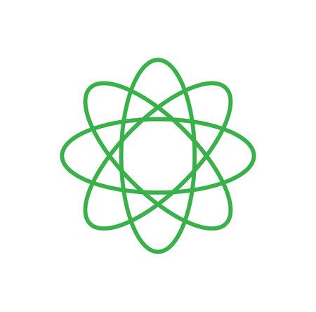 green atom icon isolated on white background