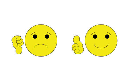 thumbs up thumbs down emoji smiley faces icons isolated on white background