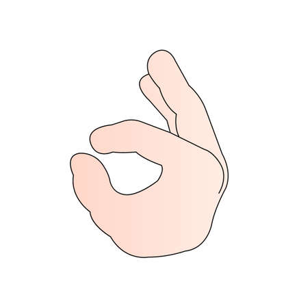 hand gesture ok sign isolated on white background Ilustração