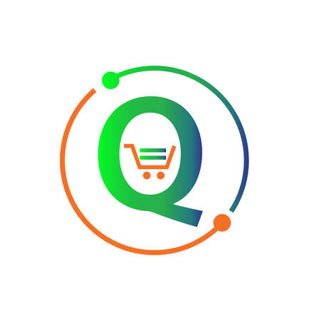 Q shopping cart icon letter isolated on white background