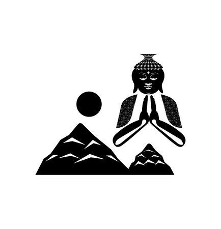 buddha above mountains logo isolated on white background Ilustração