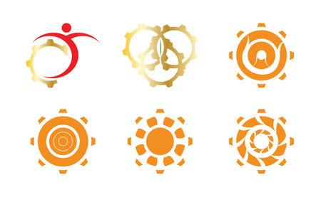 set of six creative gear icons isolated on white background Ilustração
