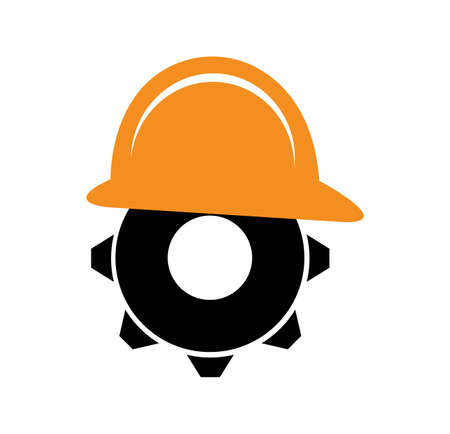 cog gear with an engineer helmet isolated on white background Ilustração