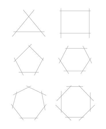 set of polygonal draft icons isolated on white background Ilustrace