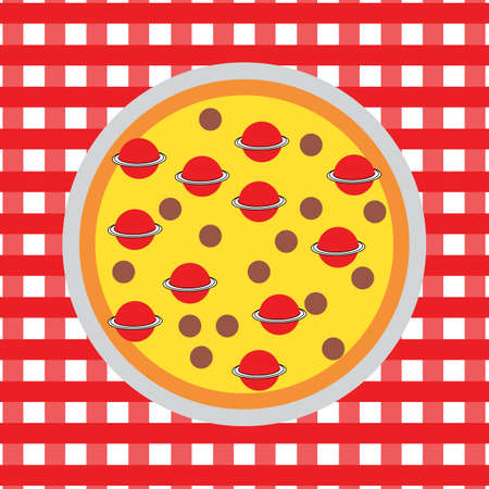 space pizza on plate on a table Ilustrace