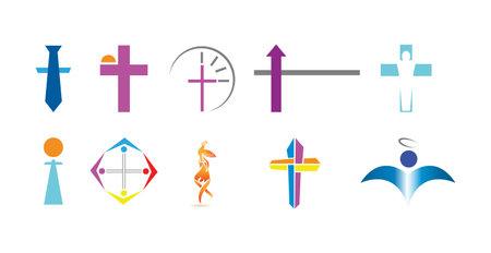 set of ten christian religion icons isolated on white background
