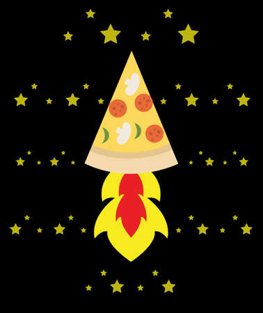 space rocket pizza flying through space Ilustrace