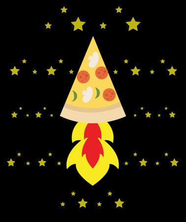 space rocket pizza flying through space Ilustração