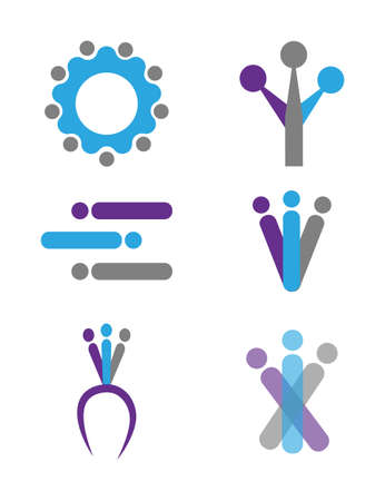 teamwork teambuilding coaching icons set isolated on white background Ilustrace