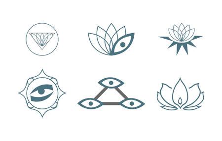 set of six yoga icons isolated on white background Ilustração