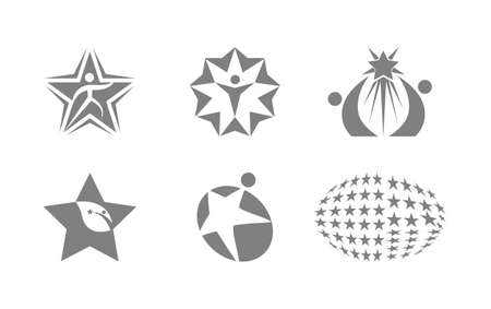Set of six star human logos isolated on white