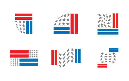 Set of six redesigned versions of USA flag isolated on white