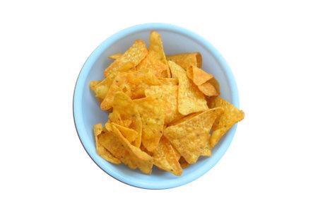 nachos in a bowl isolated on white background Reklamní fotografie