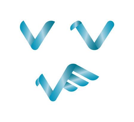 V letter icon isolated on white background