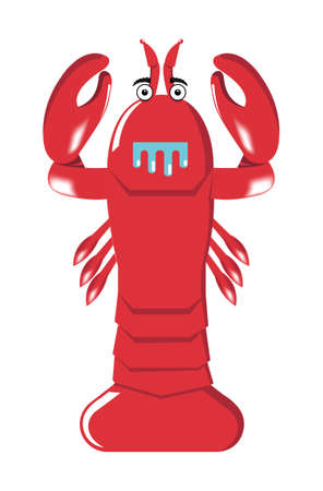 red cartoon lobster isolated on white background