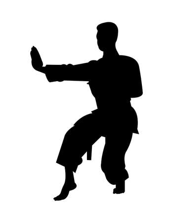 black karate silhouette isolated on white background