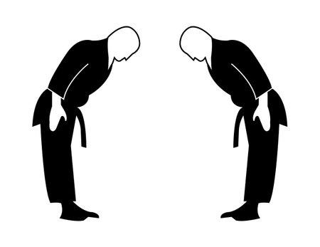 two karatekas bow isolated on white background Ilustrace