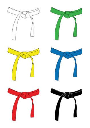 set of karate belts isolated on white background Ilustrace