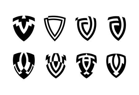 set of shield icons isolated on white background