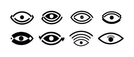 set of modern eye icons isolated on white background