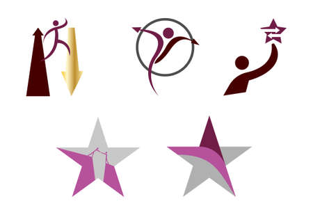 set of five abstract playful human star icons isolated on white background